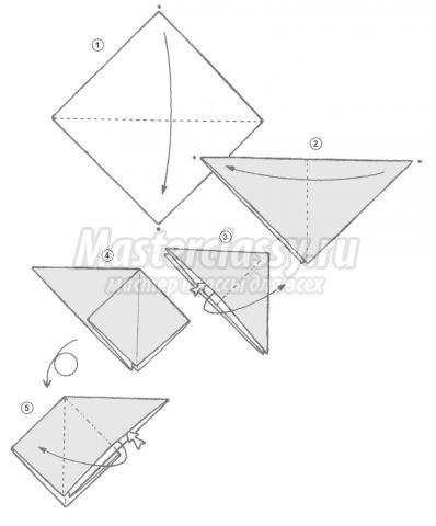 схема оригами гусь своими