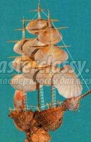Кораблик из ракушек своими руками