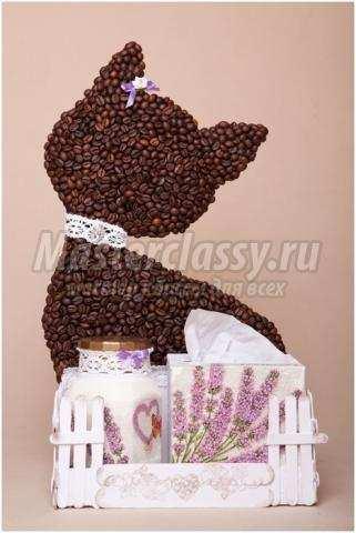 кофейная кошечка с лавандовым садиком мастер-класс