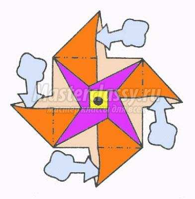 схема оригами вертушка своими
