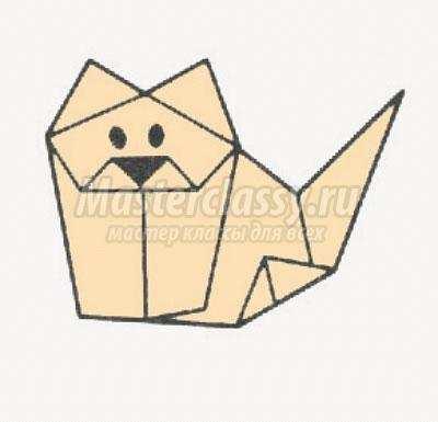как сделать оригами котёнок