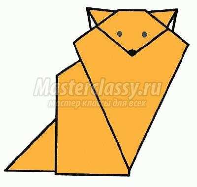 схема оригами лиса своими