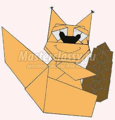 схема оригами белочка своими
