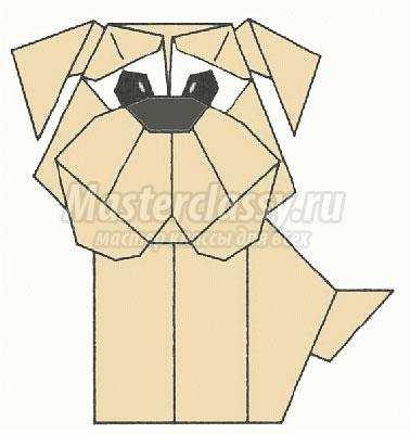 как сделать оригами бульдог