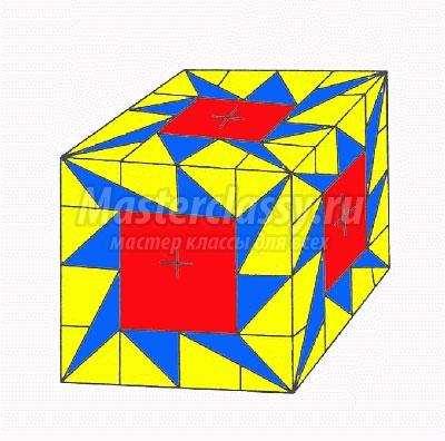 схема оригами кубик из