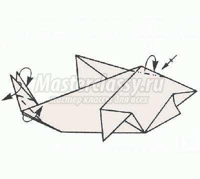 схема оригами акула своими
