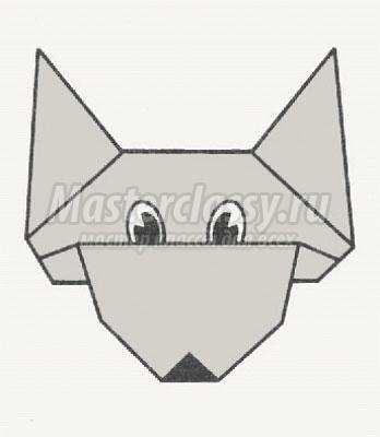 схема оригами волк своими
