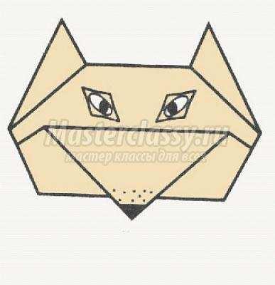 """Схема оригами """"Лиса"""" своими"""