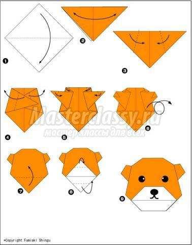 схема оригами медведь своими