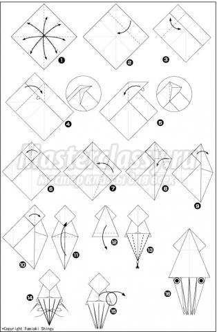 схема оригами кальмар своими