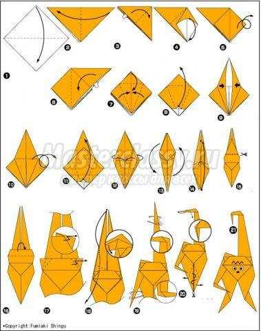 схема оригами обезьяна своими