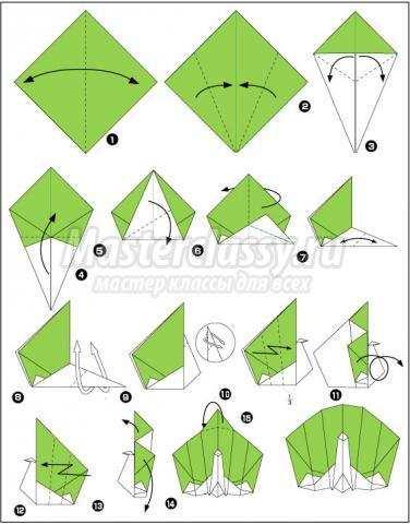оригами павлин схема