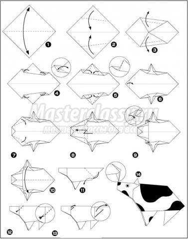 как сделать оригами корова