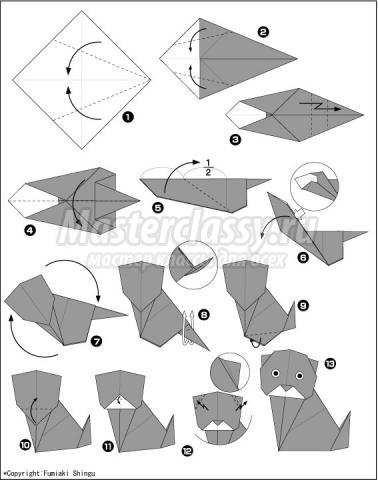 как сделать оригами кошка