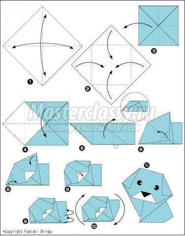схема оригами собачка своими