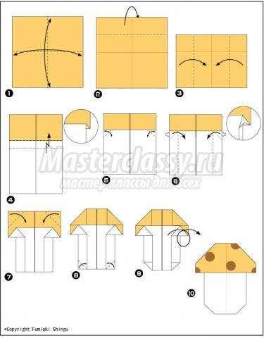 схема оригами гриб своими