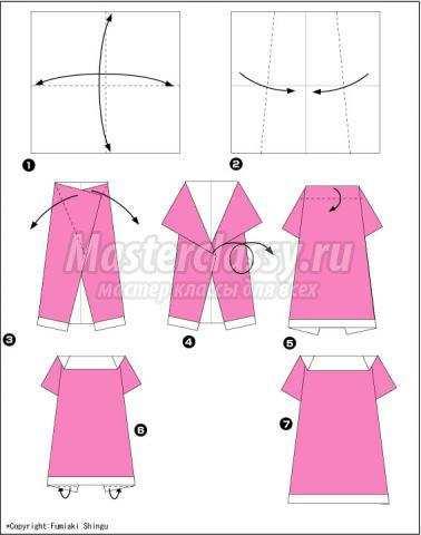 оригами женское платье своими