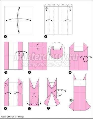 как сделать оригами платье