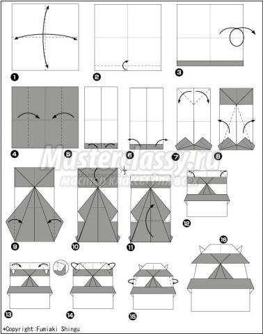 оригами японский замок своими