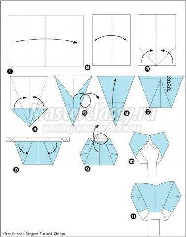 схема оригами перчатка из
