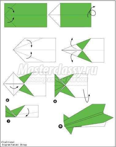 схема оригами самолёт своими
