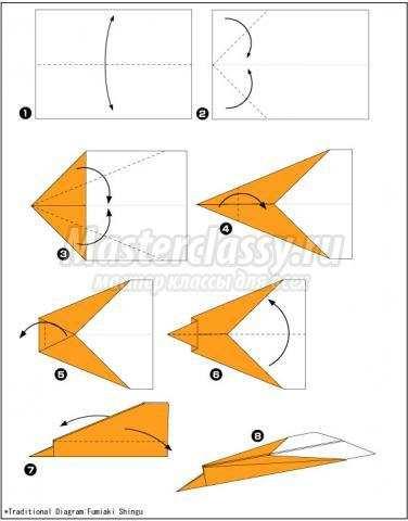 оригами быстрый самолёт схема