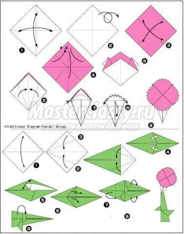 схема оригами гвоздика своими