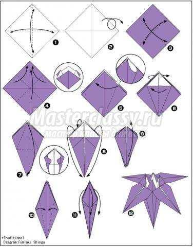 как сделать оригами ирис