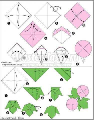 схема оригами кувшинка своими