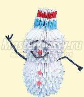 Как сделать модульное оригами снеговик 109