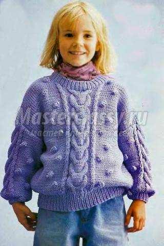 Пуловер для девочки спицами мастер класс