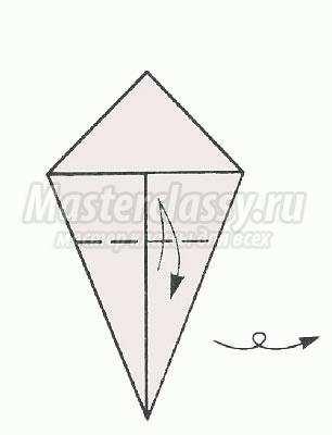 """Схема оригами """"Клюющая птичка"""""""