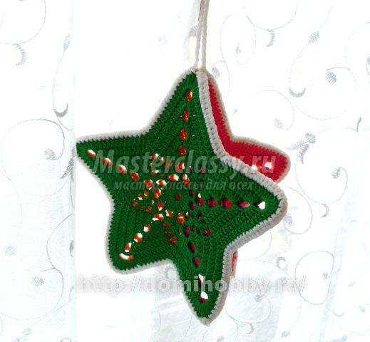 вязаная новогодняя звезда крючком схема и описание