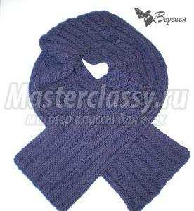 вязаный мужской шарф спицами схема и описание мастерклассы блоги