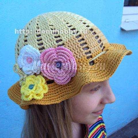 шляпка для девочки связанная