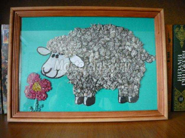 аппликация овечка на лугу мастер-класс с пошаговым фото