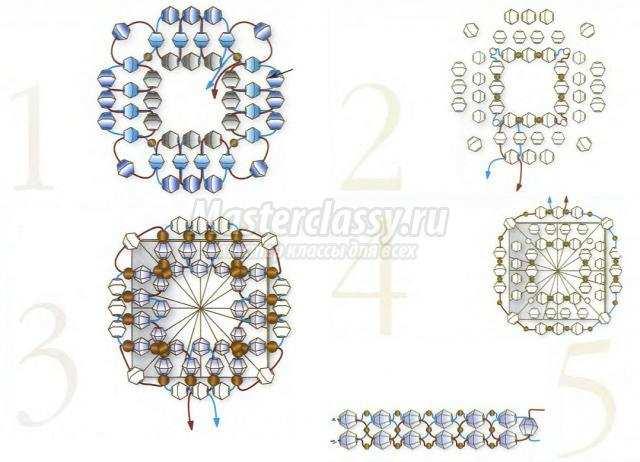 Пошаговая схема плетения кольца из бисера.