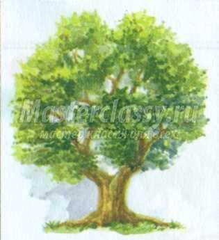 рисунок дуб <i>дуба</i> своими руками акварелью