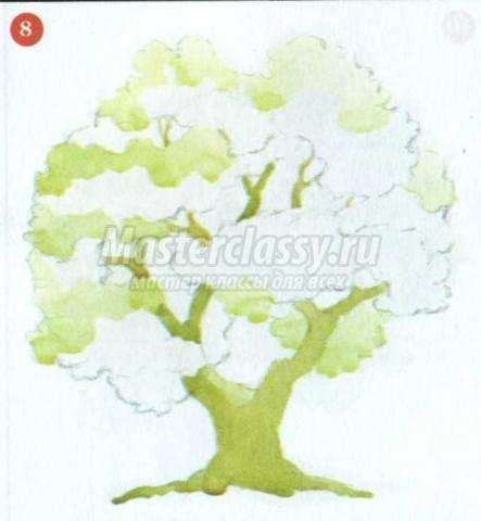 рисунок дуб своими руками акварелью