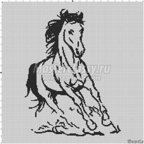 схемы вышивки. Лошади